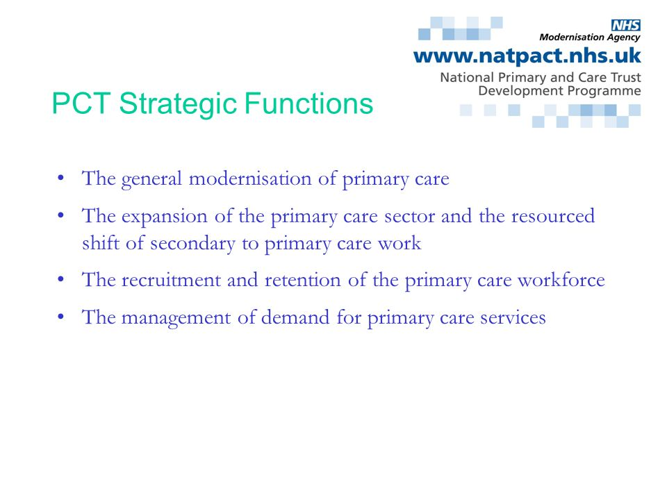 PCT Strategic Functions