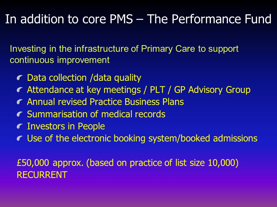 In addition to core PMS – The Performance Fund