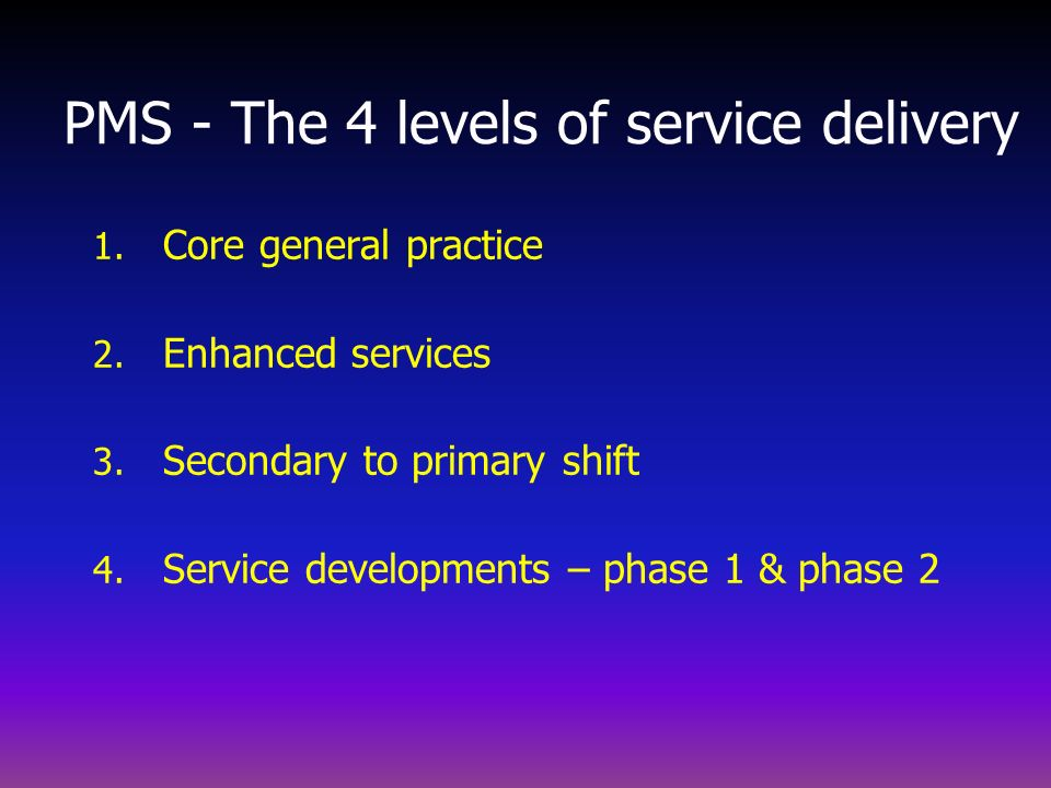 PMS - The 4 levels of service delivery