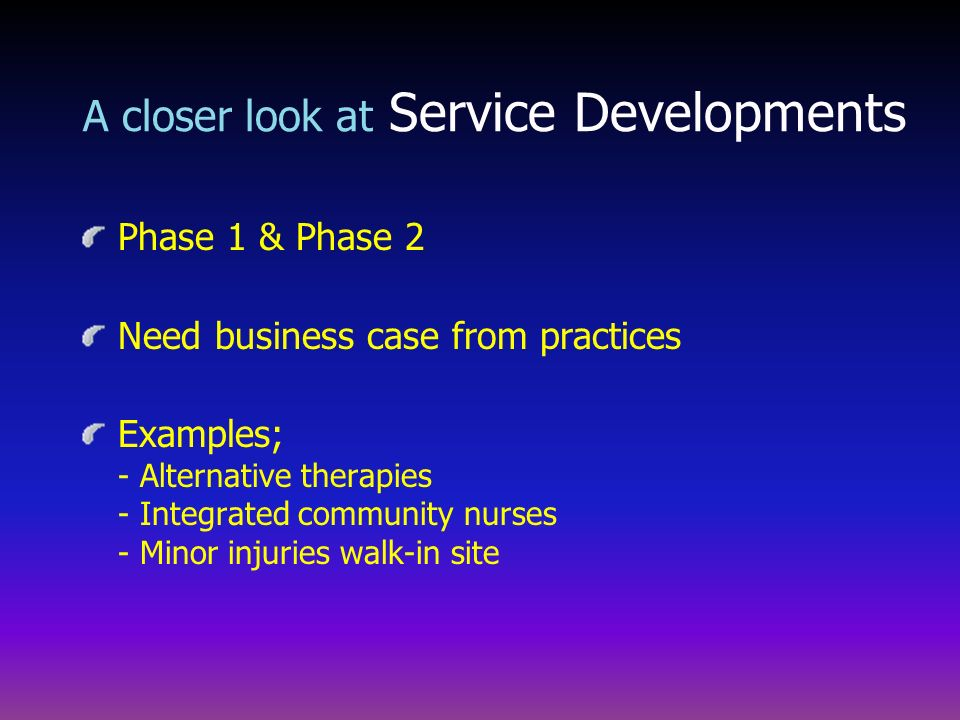A closer look at Service Developments
