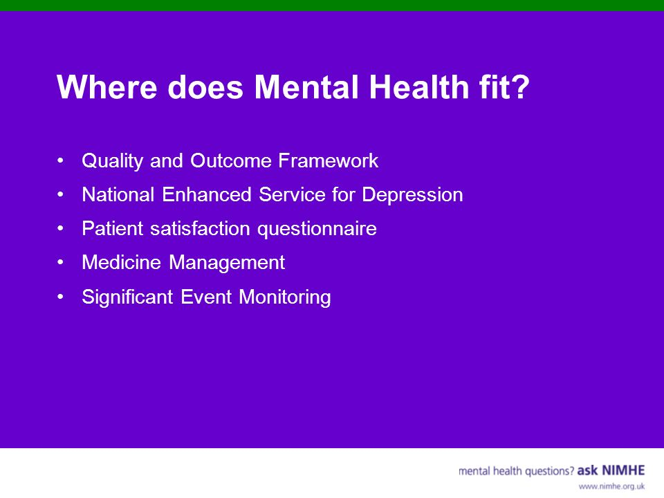 Where does Mental Health fit