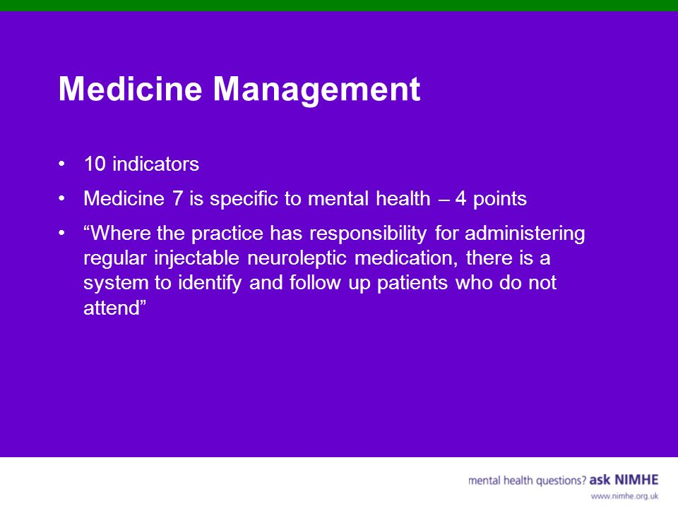 Medicine Management 10 indicators