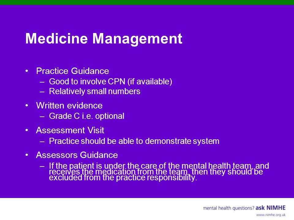 Medicine Management Practice Guidance Written evidence