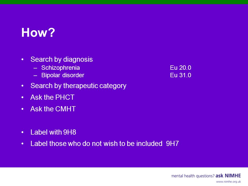 How Search by diagnosis Search by therapeutic category Ask the PHCT