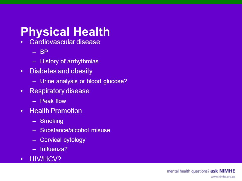 Physical Health Cardiovascular disease Diabetes and obesity