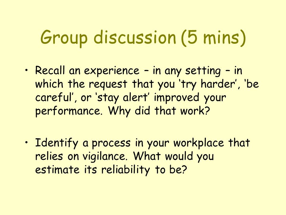 Group discussion (5 mins)