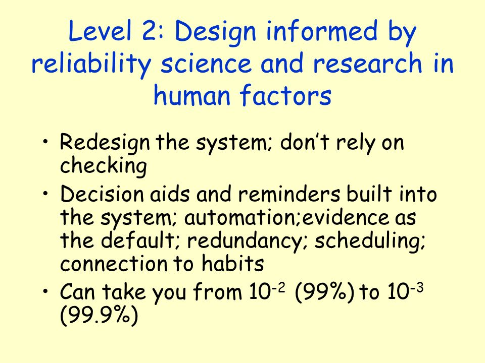 Level 2: Design informed by reliability science and research in human factors