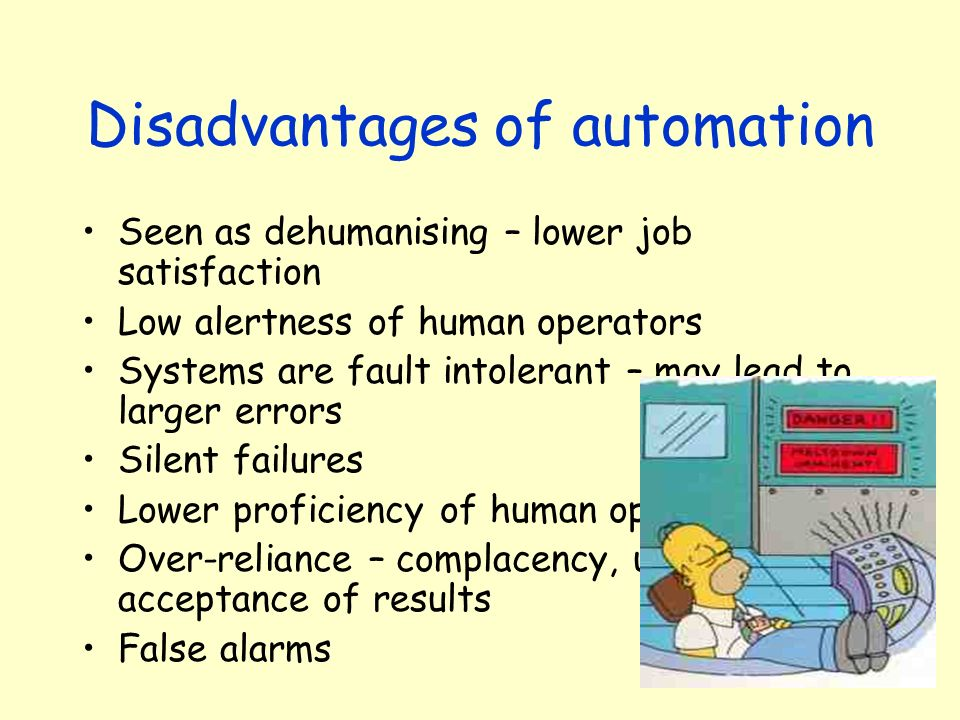 Disadvantages of automation