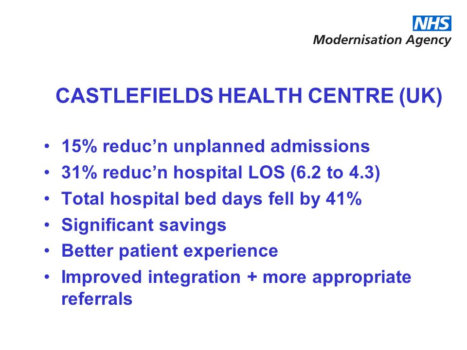 CASTLEFIELDS HEALTH CENTRE (UK)