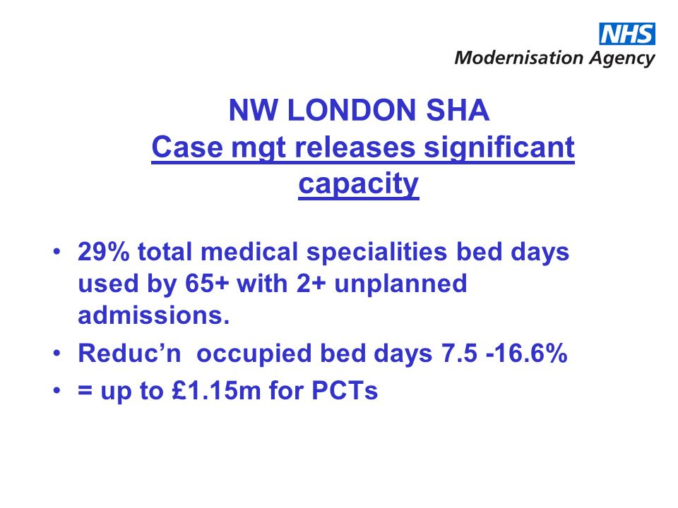 NW LONDON SHA Case mgt releases significant capacity