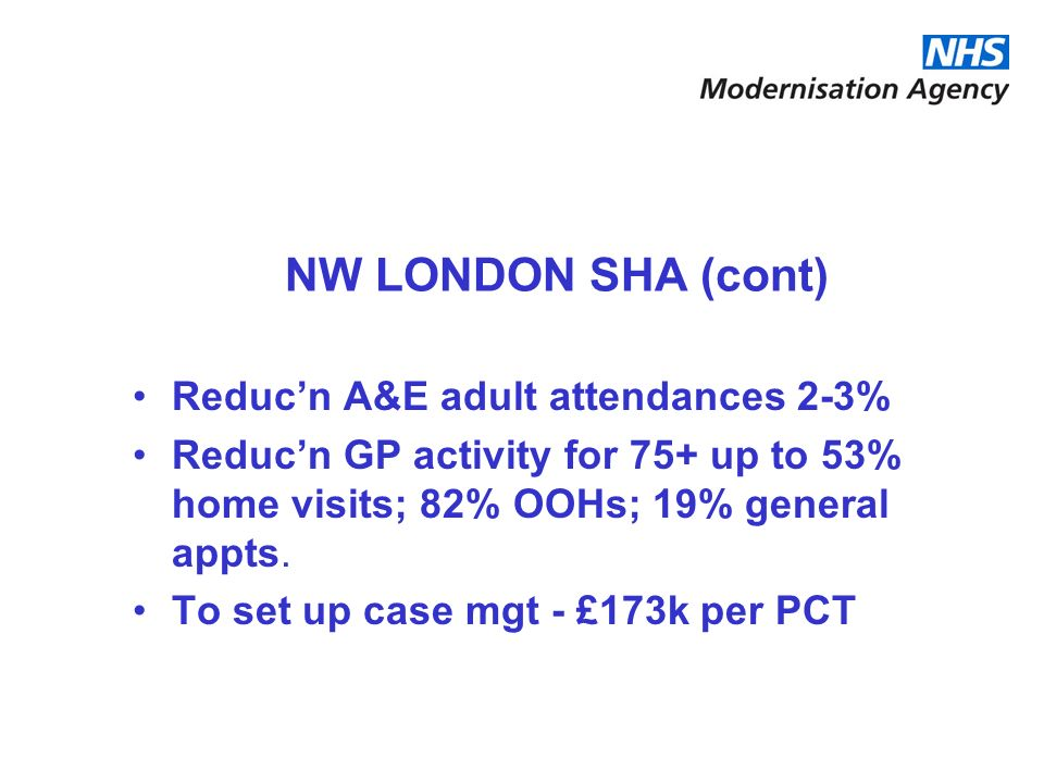 NW LONDON SHA (cont) Reduc'n A&E adult attendances 2-3%