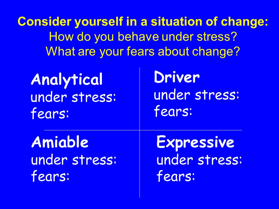 Analytical Driver Amiable Expressive under stress: fears: