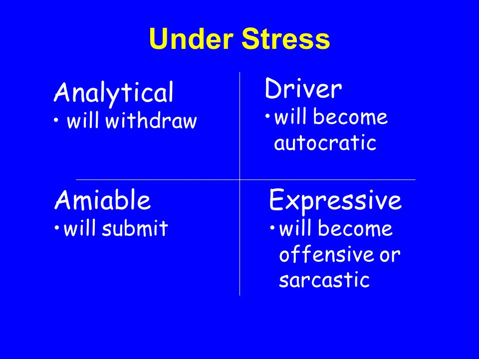 Under Stress Driver Analytical Amiable Expressive