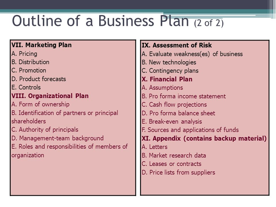 an outline of the business plan