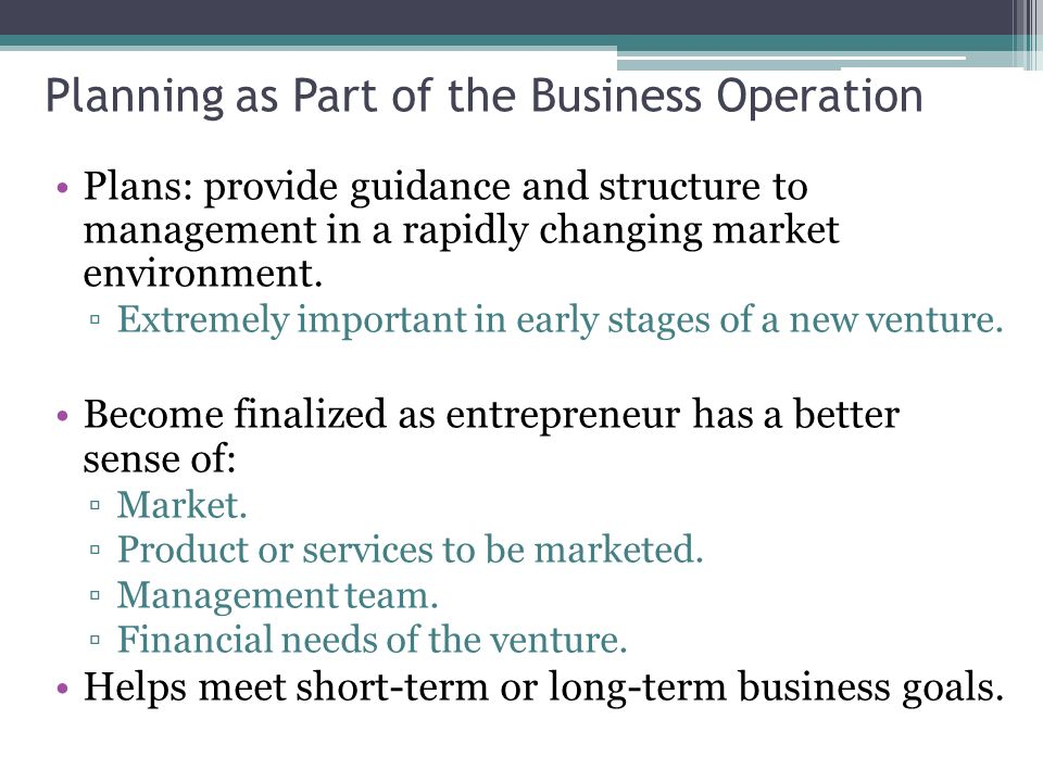 Different Parts of a Business Plan