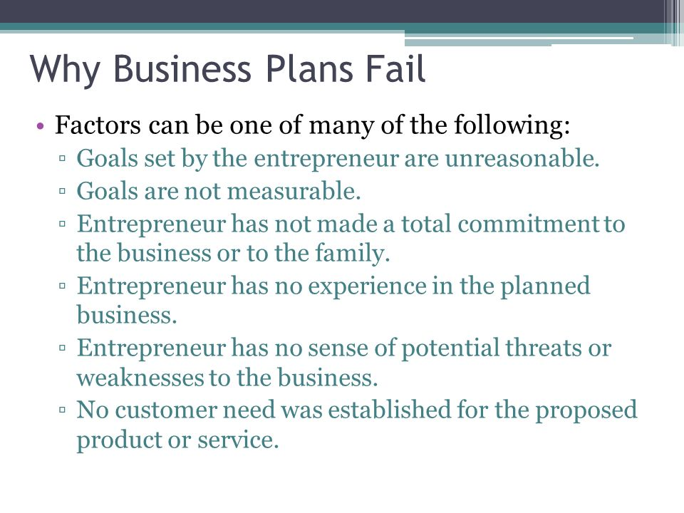 why business plan failure