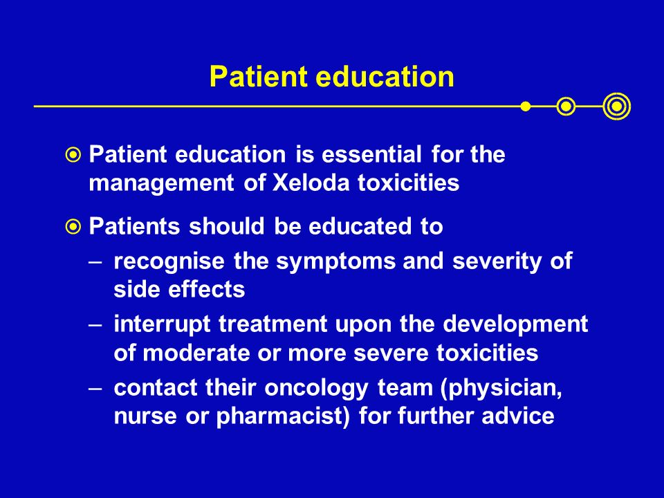 Patient education Patient education is essential for the management of Xeloda toxicities. Patients should be educated to.