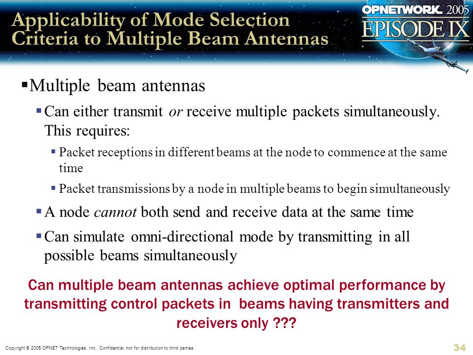 Applicability of Mode Selection Criteria to Multiple Beam Antennas