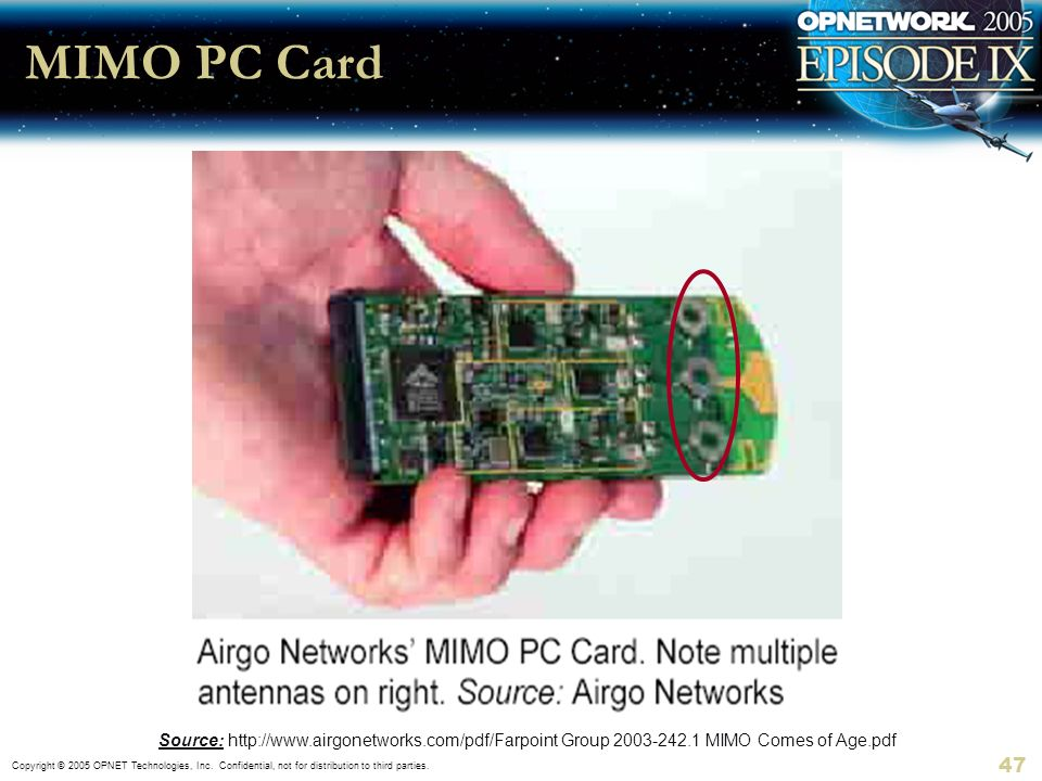 MIMO PC Card Source: http://www.airgonetworks.com/pdf/Farpoint Group 2003-242.1 MIMO Comes of Age.pdf.