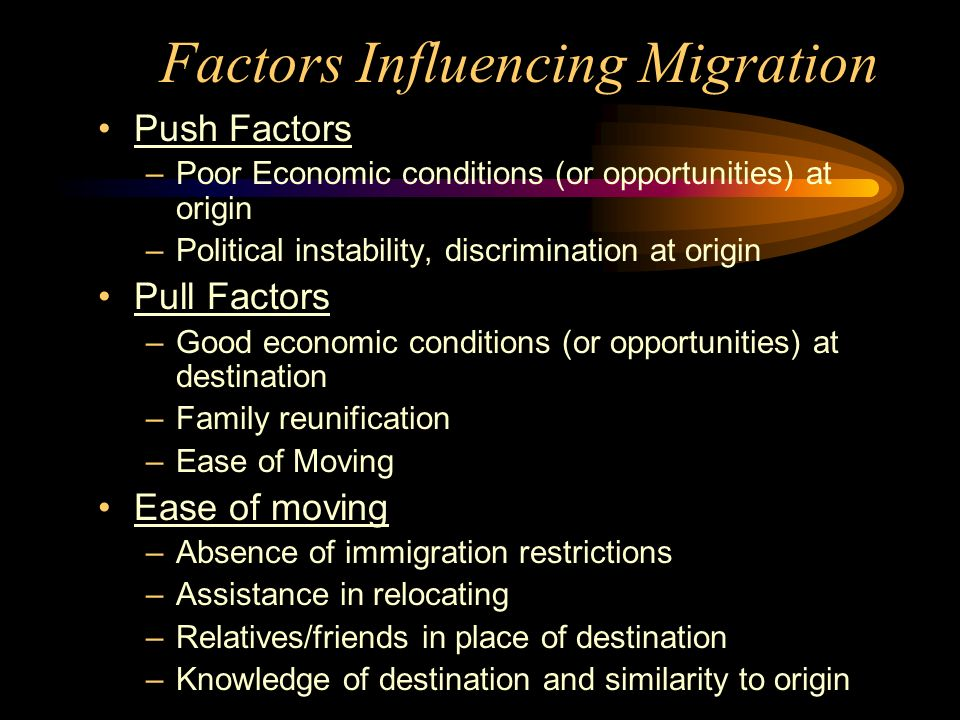 Factors Influencing Migration