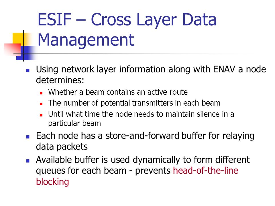 ESIF – Cross Layer Data Management