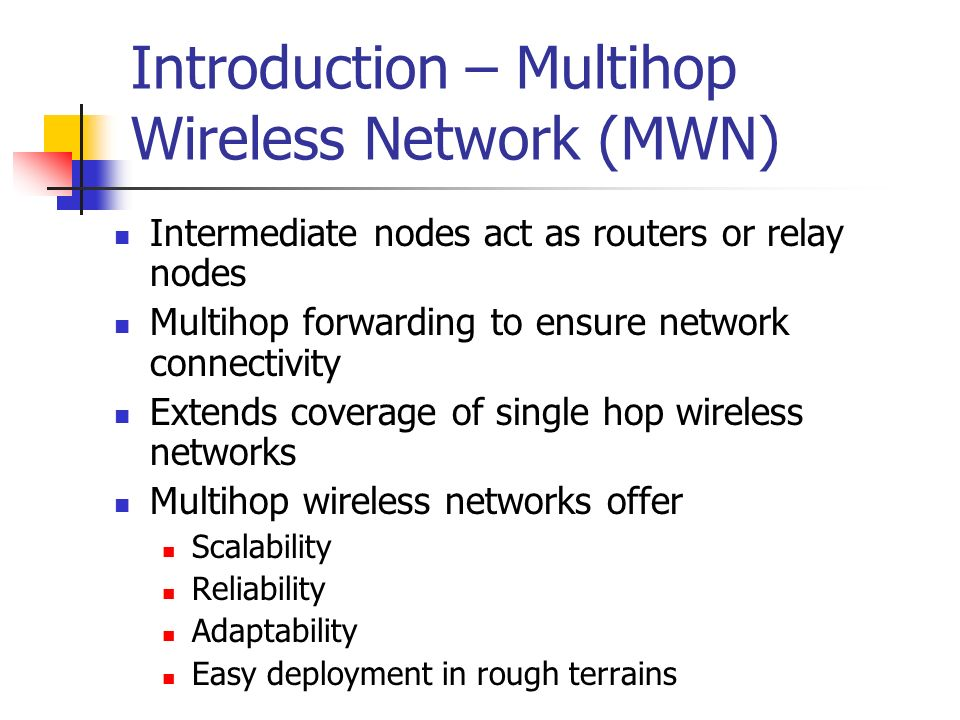 Introduction – Multihop Wireless Network (MWN)