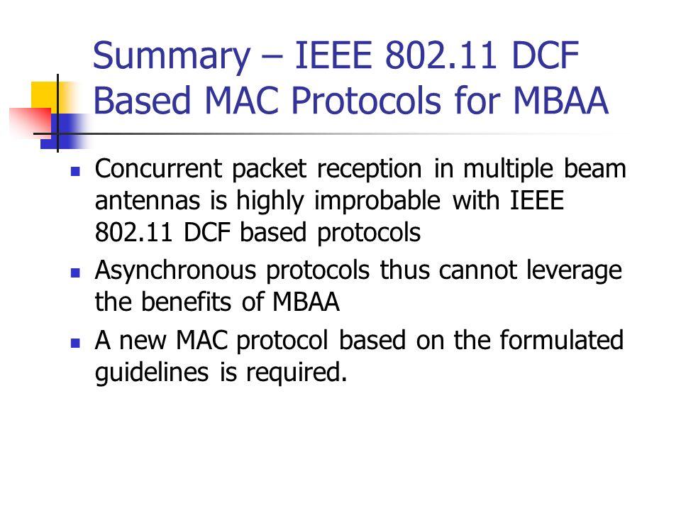 Summary – IEEE 802.11 DCF Based MAC Protocols for MBAA