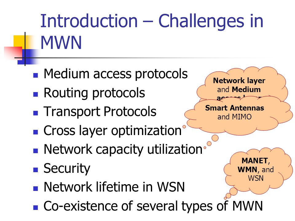 Introduction – Challenges in MWN