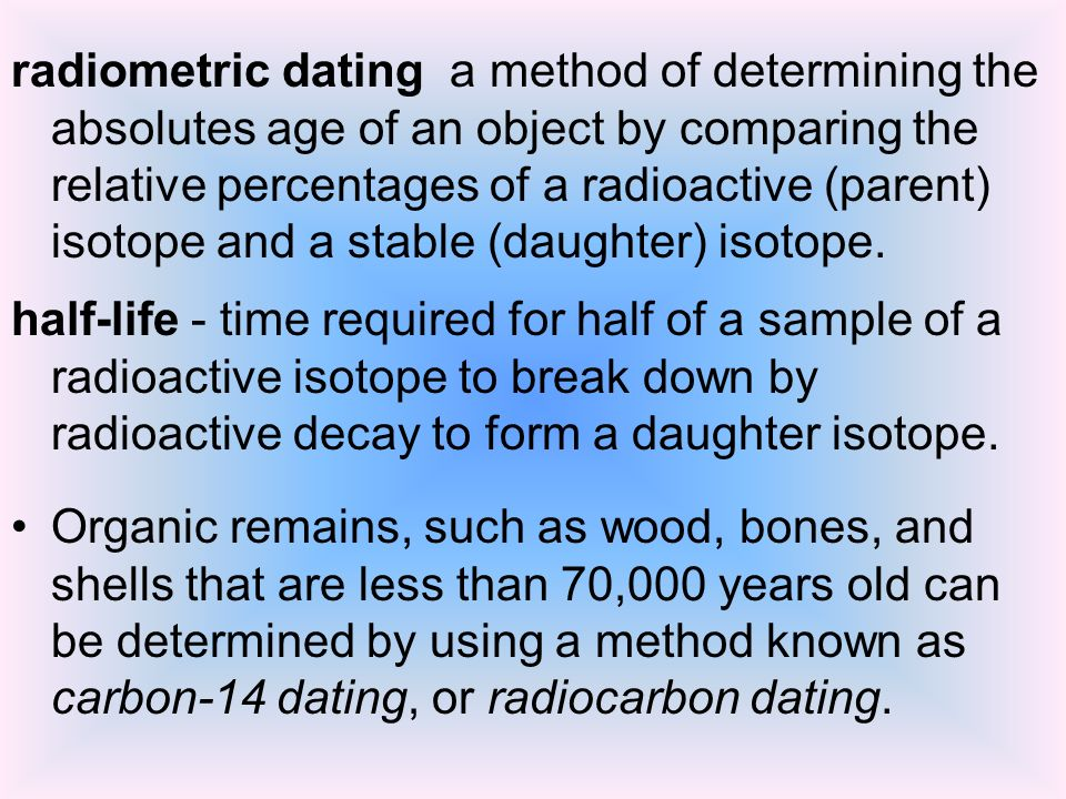 What is measured in the radiocarbon dating of organic materials