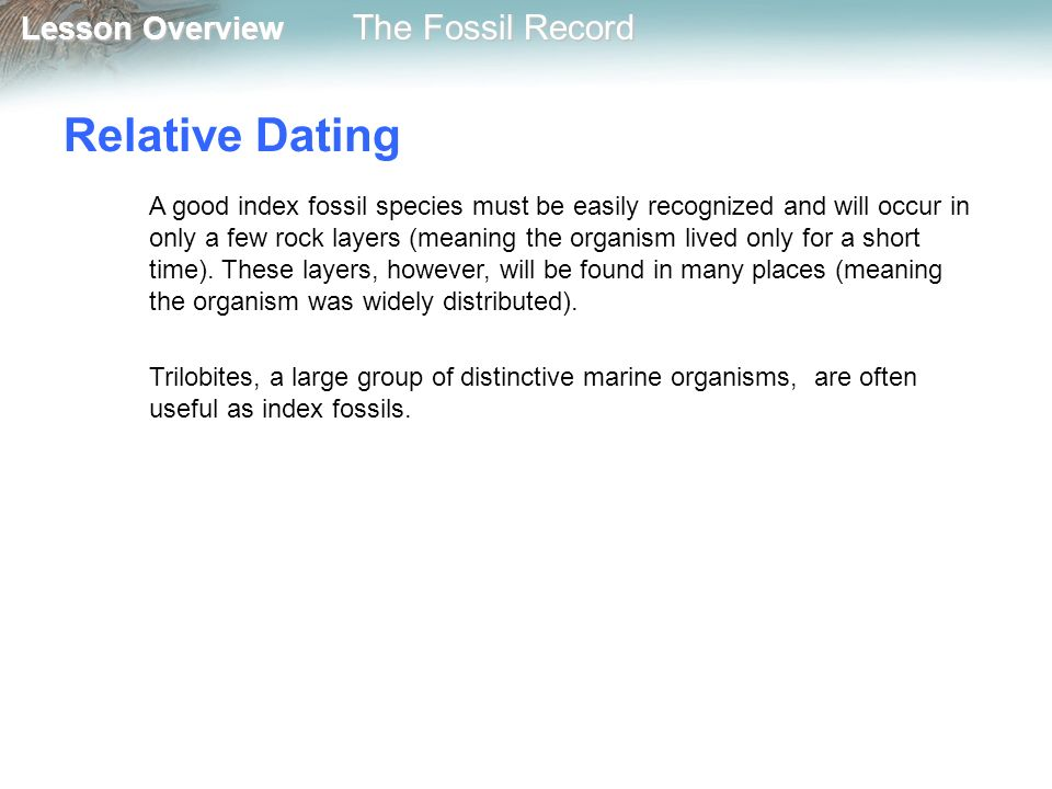 What does relative dating mean in biology
