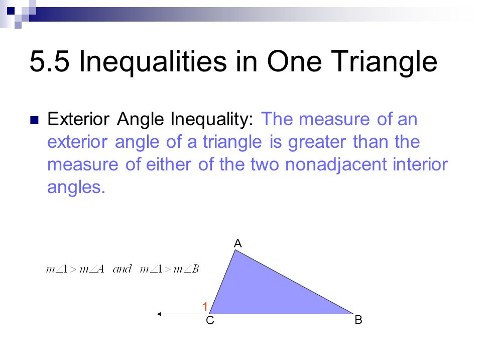 Properties of triangles ppt video online download - Exterior angle inequality theorem ...