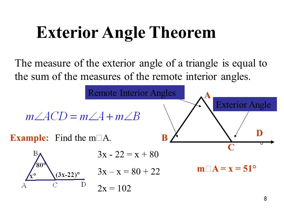 Chapter 5 review perpendicular bisector angle bisector - Sum of the exterior angles of a triangle ...