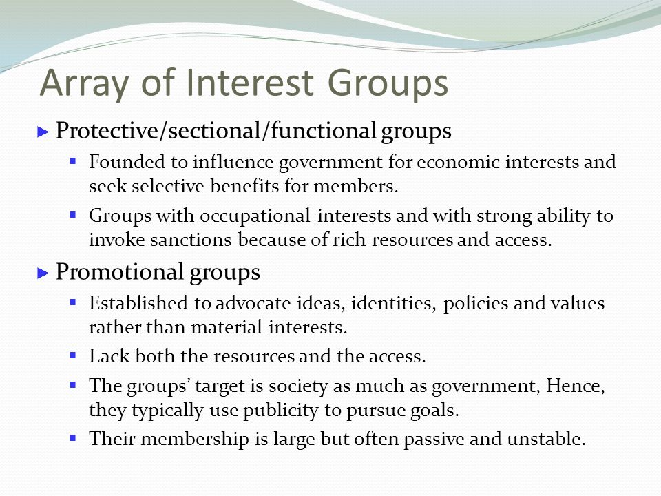 the lack of power of interest groups Institutional access and policy influence of interest groups in the swiss  parliament  between interest groups and mps in switzerland and we formulate  four theoretical  distinction between types of interest groups in bailer (2011),  and lack of policy  separation-of-powers framework the role of government in  legislative.