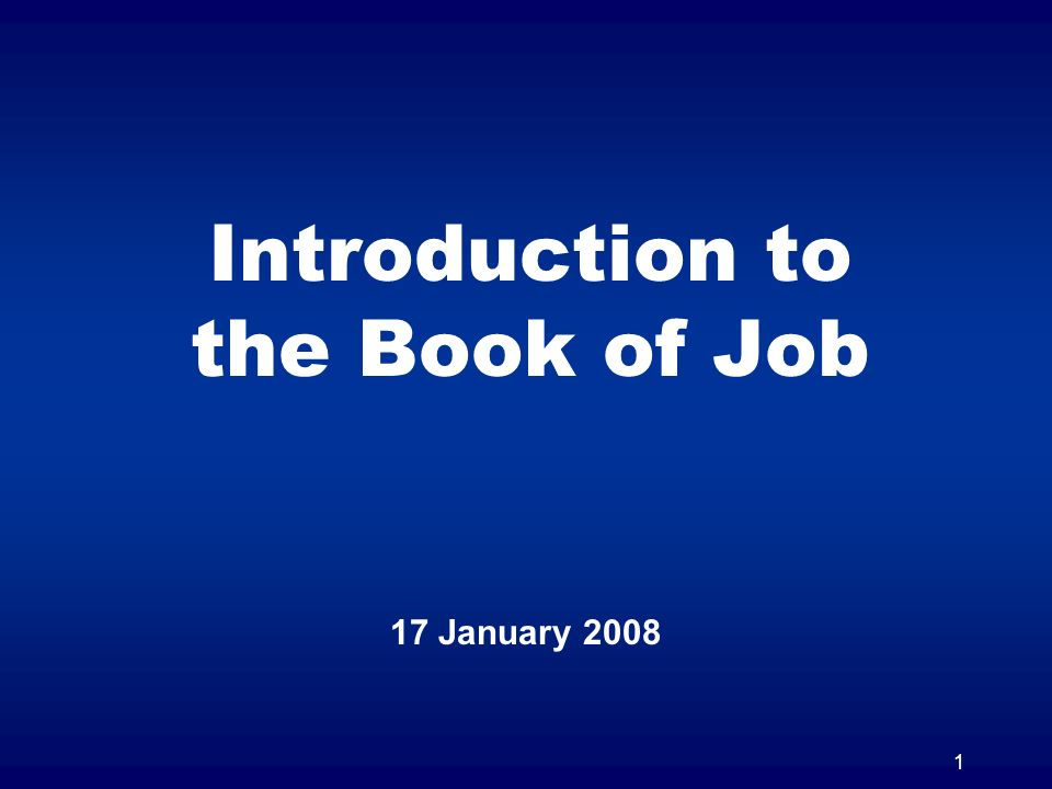 Introduction to the Book of Job