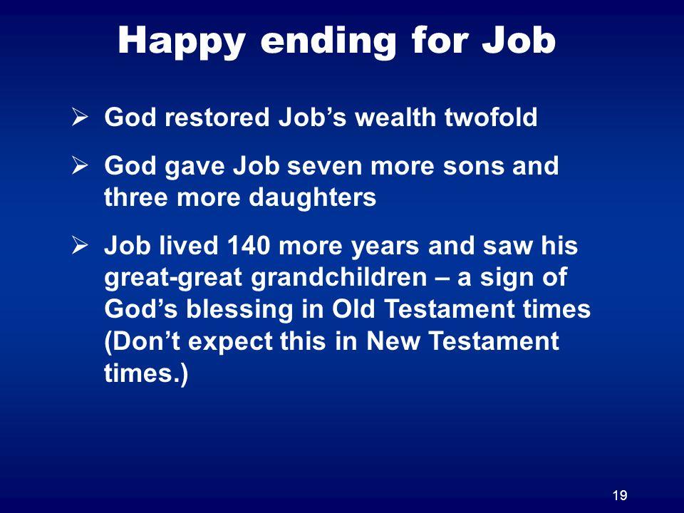Happy ending for Job God restored Job's wealth twofold
