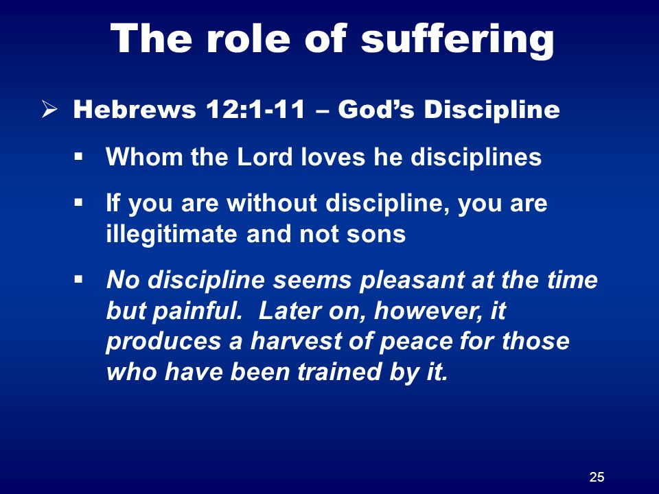 The role of suffering Hebrews 12:1-11 – God's Discipline