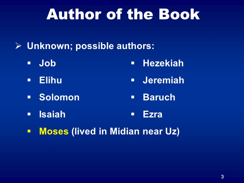 Author of the Book Unknown; possible authors: Job Elihu Solomon Isaiah