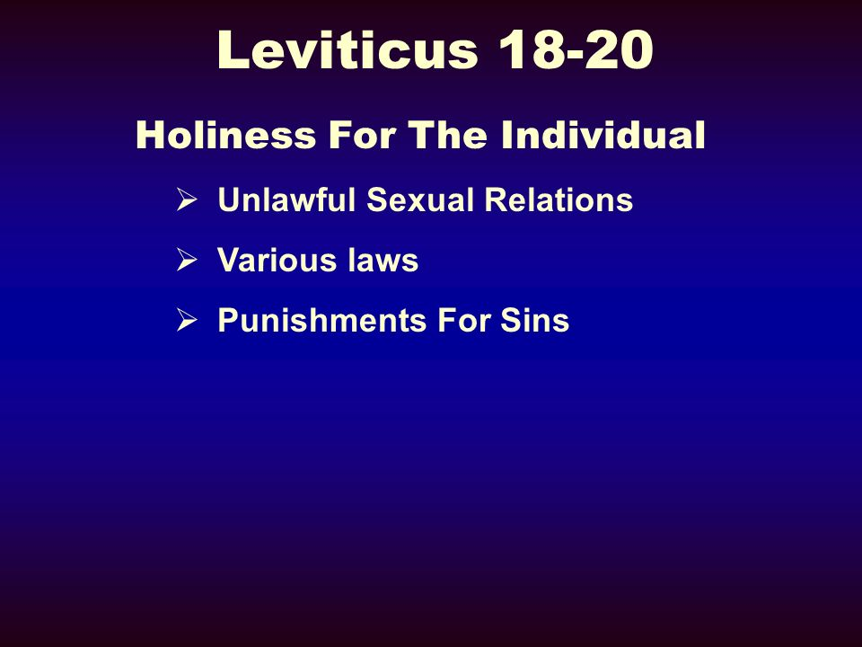 Holiness For The Individual