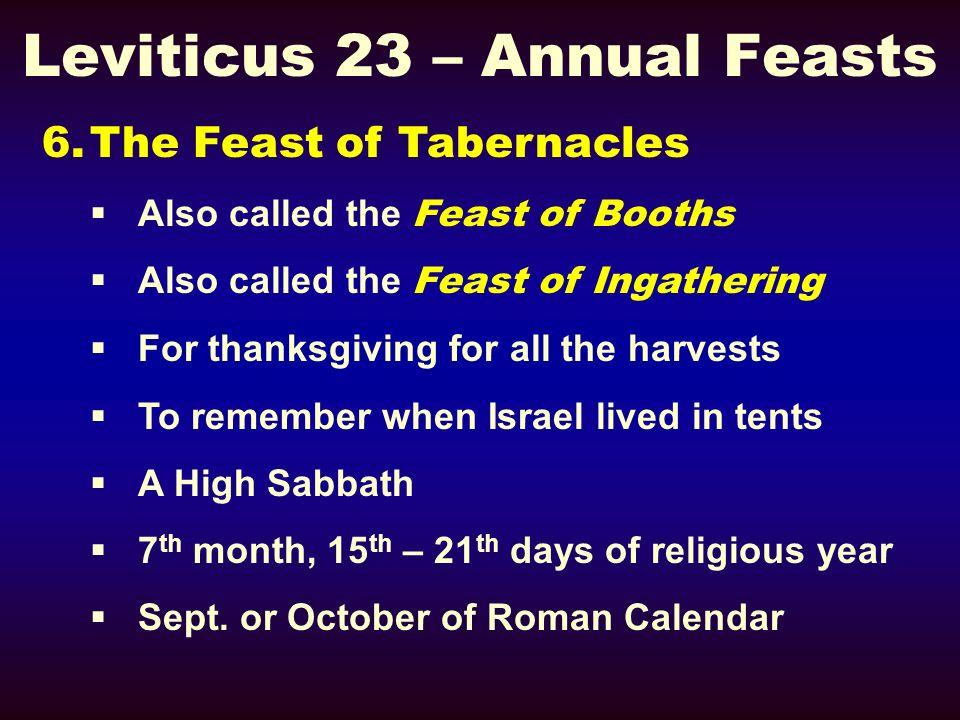Leviticus 23 – Annual Feasts