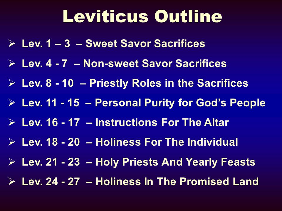Leviticus Outline Lev. 1 – 3 – Sweet Savor Sacrifices