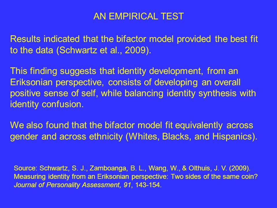 AN EMPIRICAL TEST Results indicated that the bifactor model provided the best fit to the data (Schwartz et al., 2009).