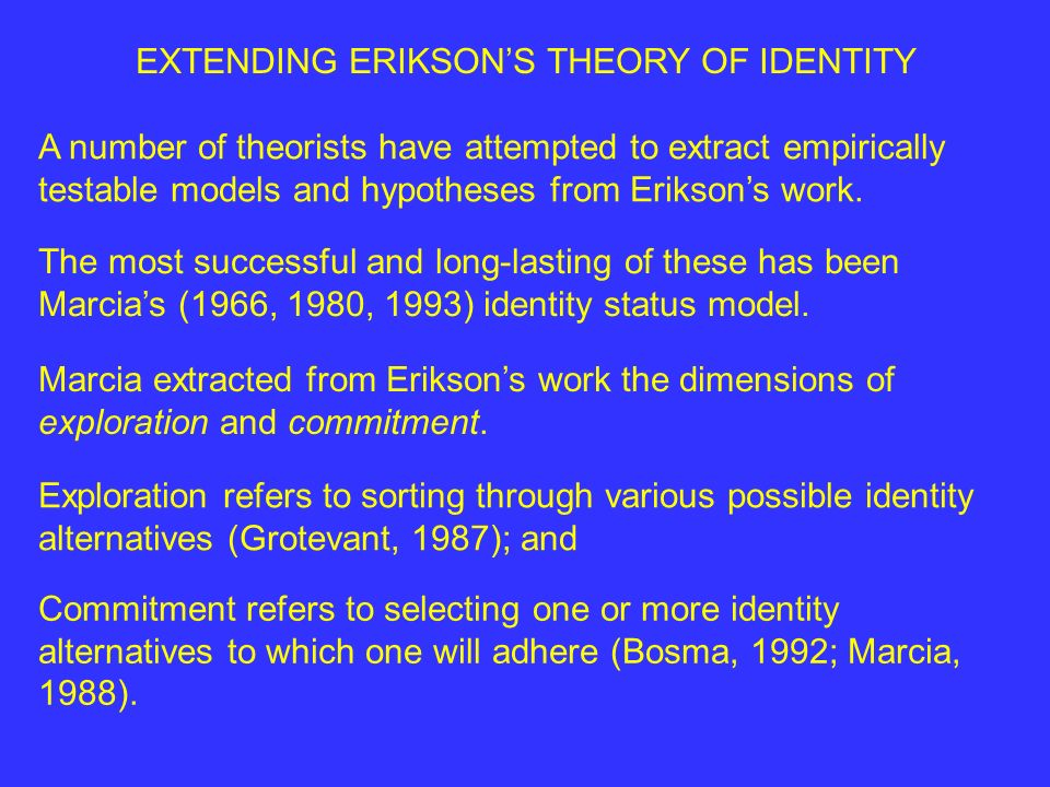 EXTENDING ERIKSON'S THEORY OF IDENTITY