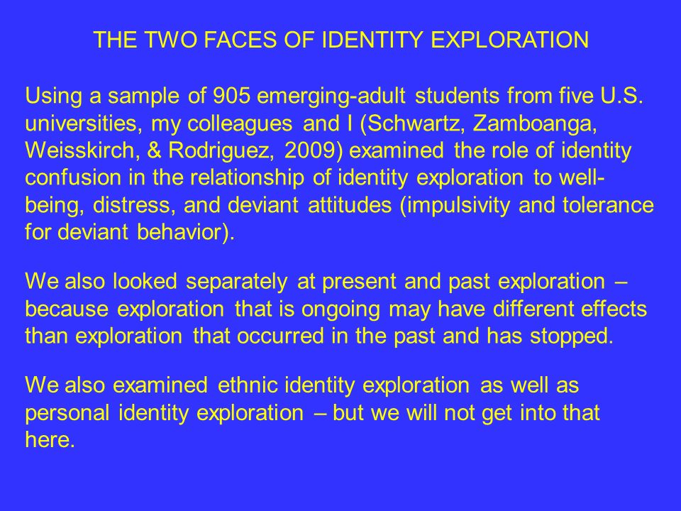 THE TWO FACES OF IDENTITY EXPLORATION