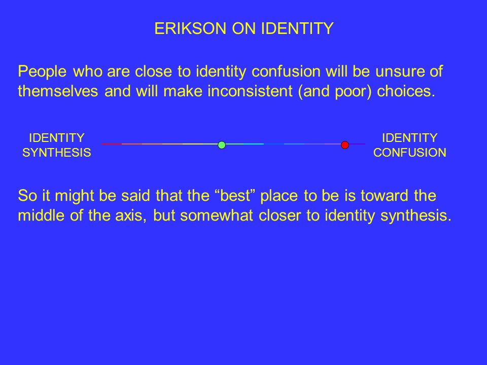ERIKSON ON IDENTITY People who are close to identity confusion will be unsure of themselves and will make inconsistent (and poor) choices.