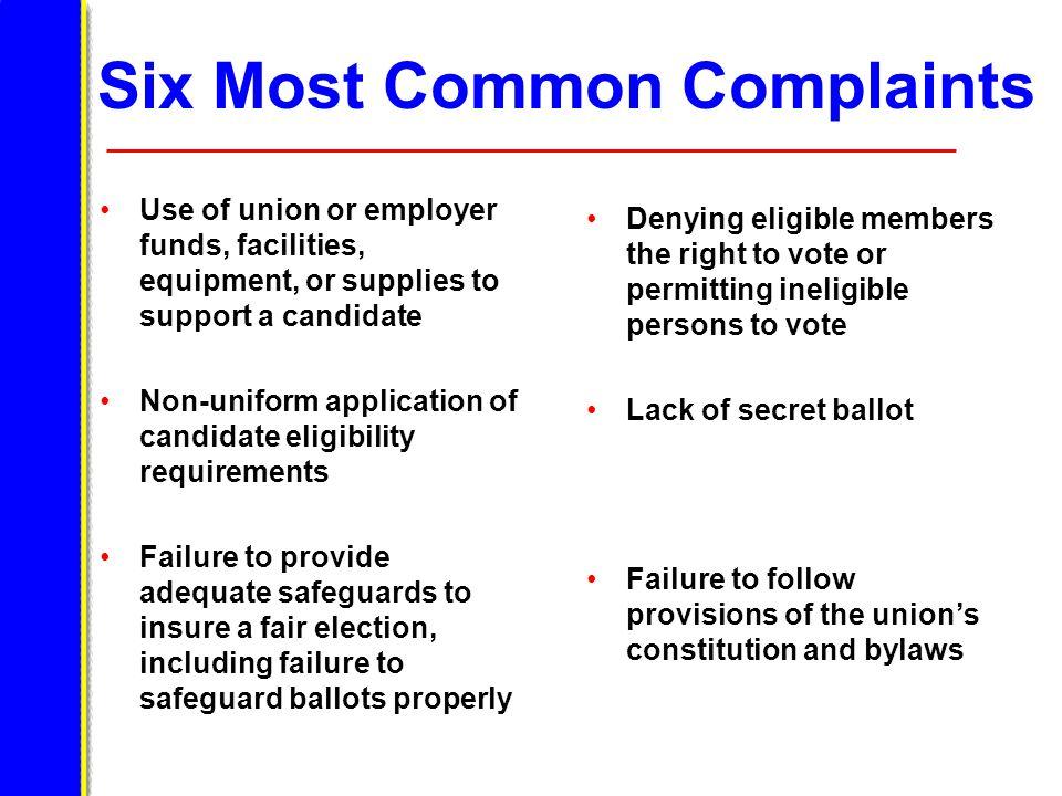 Six Most Common Complaints