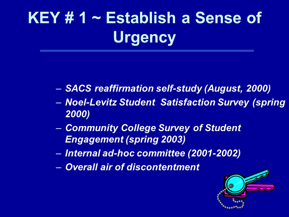 KEY # 1 ~ Establish a Sense of Urgency