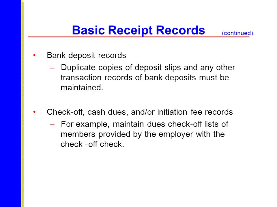 Basic Receipt Records Bank deposit records