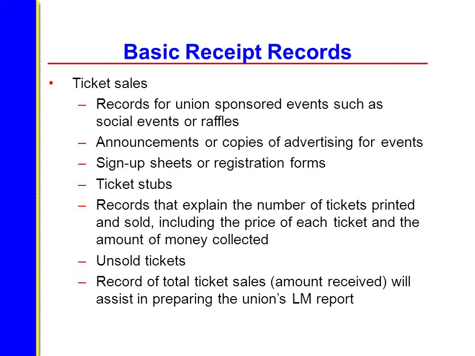 Basic Receipt Records Ticket sales