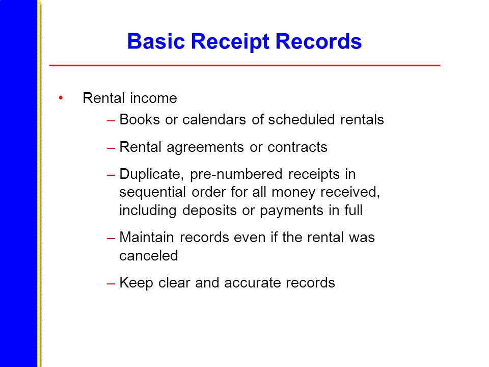 Basic Receipt Records Rental income