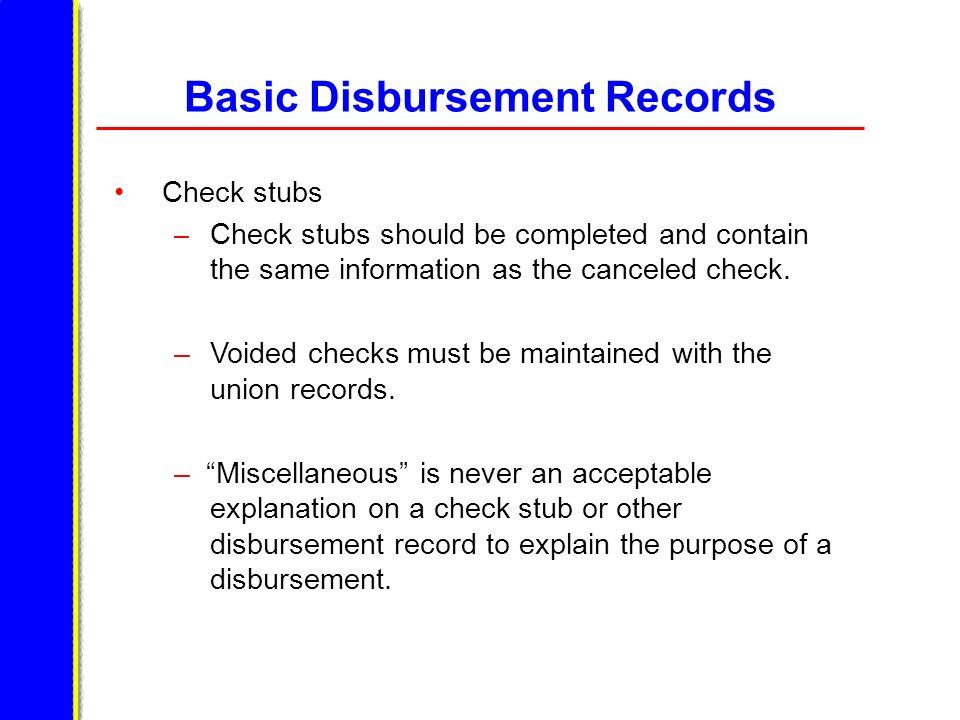 Basic Disbursement Records